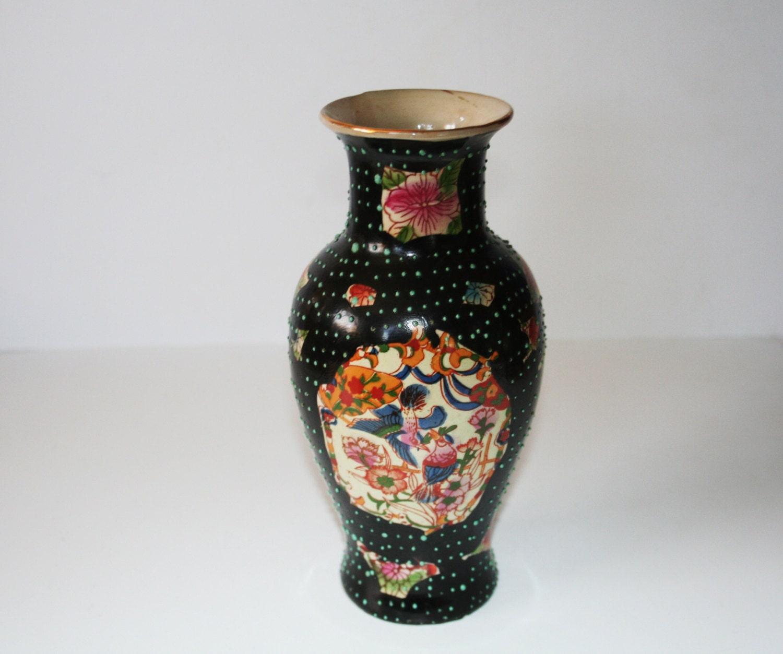Vintage Orinental Ceramic Flower Vase Unusual Design