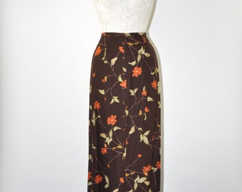 floral maxi skirt / brown straight skirt / rayon button front skirt / long column skirt