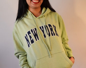 Hooded jacket,New York ,Hoodie ,Sweatshirt ,Shirt ,Women's ,S, Small ,Green ,Blue