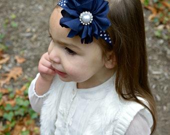 Navy headband, Polka Dot Headband, Navy Flower Girl Headband, Navy Birthday Headband, Blue Headband, Navy Headband, Navy clip, Navy Flower