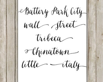8x10 Battery Park City Print, New York Printable, Typography Art, I Heart NY Poster, Home Decor, Typography Print, Instant Digital Download