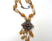Vintage Orange Beads and Rhinestones Necklace