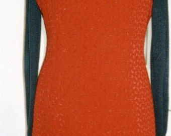 Dress wool cherry red chenille lined black boa