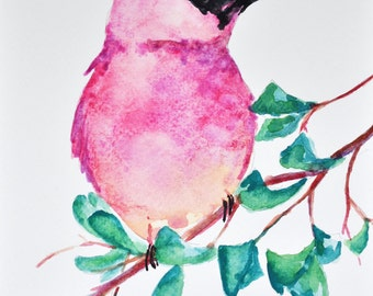 Original Watercolor Painting, Bird on a Branch Illustration 6x8 inch