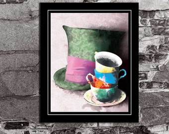 Alice in Wonderland Mad Hatter Tea Party - Lewis Carroll / Disney Inspired - Movie Art Poster