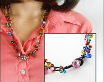 Colorful Glass Beads, Wax String Necklace Handmade Thailand Jewelry. JN1022