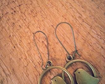Antique Bronze Love Bird Earrings