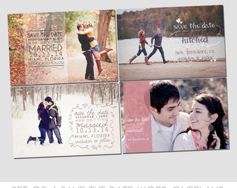 Save the Date Wedding Words Overlays - Use for creating custom cards for clients - Engagement Announcement - Easy to use