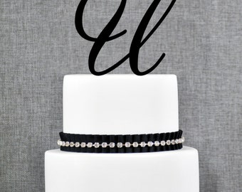 Personalized Monogram Initial Wedding Cake Toppers -Letter U, Custom Monogram Cake Toppers, Unique Cake Toppers, Traditional Initial Toppers