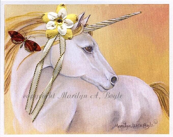 UNICORN PRINT -  3-D Embellishments on Unicorn Print, golden unicorn, butterfly, flower, ribbon,