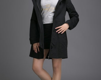 Oversize long jacket black outerwear autumn winter coat plus size cape coat fitted overcoat (90054)