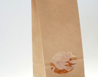 Favor bags with window, brown paper bags, flat back bags, kraftpaper gift bags, food wrapping packaging, 80 x 50 x 190 mm / 3.1 x 2 x 7.5 in