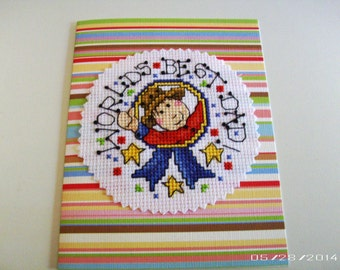 Best Dad Cross-Stitch Greeting Card - Father's Day Greeting Card