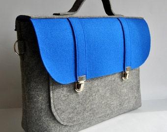 Felt briefcase 13 MacBook Pro laptop  bag with a pockets satchel gray with blue Common Laptop Bag Messenger Bag