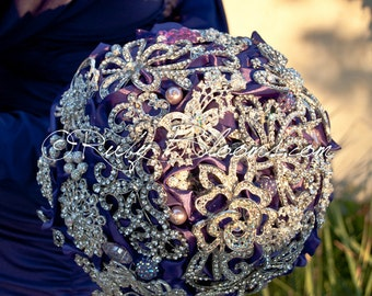 "Royal Purple Wedding Brooch Bouquet. ""Purple Majestic"" Rhinestone Crystal Silver Heirloom Bridal Broach Bouquet, Ruby Blooms Wedding"