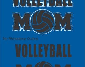 Volleyball Mom T Shirt/ Volleyball Mom Shirt/ Volleyball Mom Gift/ Volleyball Mom/ Vinyl Rhinestone Volleyball Mom Short Sleeve T-Shirt