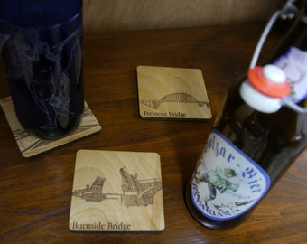 Portland Bridge Coasters - Laser Engraved Wood - Set of Eight (8)