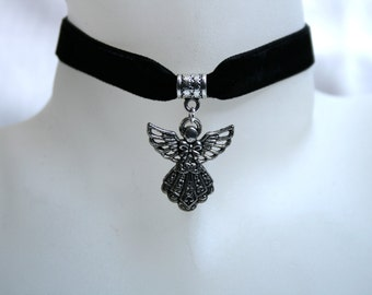 Handcrafted 'Guardian Angel' Choker. Tibetan silver Guardian Angel on a Wine, Black, Green, Purple, Brown, White or Ivory velvet ribbon.