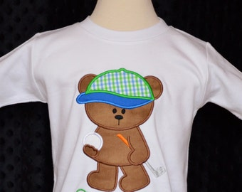 Personalized Golfing Bear Applique Shirt or Onesie Boy or Girl