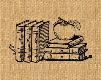 Apple Books Teacher Student Vintage Printable Image Graphic Digital Antique Clip Art Transfer Art Print jpg jpeg png INSTANT Download V320