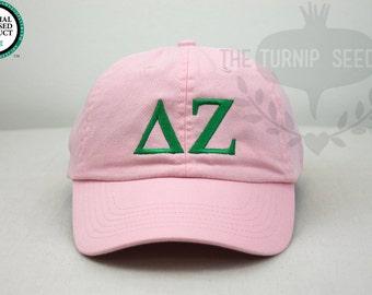 Delta Zeta Greek Only Sorority Baseball Cap - Custom Color Hat and Embroidery.