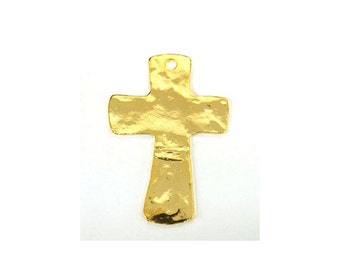 20 PCS Pewter Hammered Cross Charm for Making Jewelry - Gold , 1 Hole