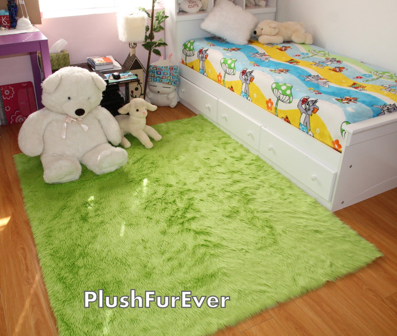 Olive Green Shaggy Fur Faux Fur Rug Rectangle Shape Plush Soft Modern Fur Rug