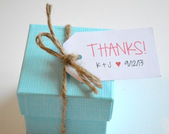 Thanks Wedding Tag - Custom Wedding Favor & Gift Tags - White Matte Small Label Tags - Thank You Initials