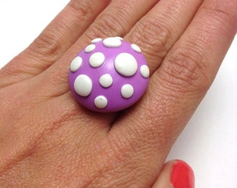 Polymer Clay Jewelry, Polymer Clay Ring, Adjustable Metal Ring, Clay Jewellery, Big Variety of Colors