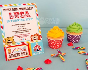 Circus BIRTHDAY Printable 5 x 7 inch Invitation, INSTANT DOWNLOAD, You Edit Yourself with Adobe Reader