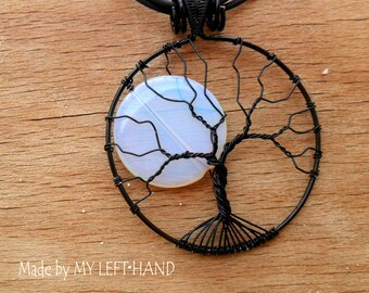 Moonstone Full Moon Necklace Tree Of Life pendant Black pendant Wire Wrapped Necklace Moonstone Pendant Gift For Her