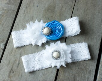 Your Choice of Color Rosette Wedding Garter, Bridal Garter, Blue and White Wedding Garter Set, Shabby Chic Garter, Satin Garter