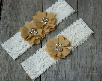 Tan Light Brown Wedding Garter, Shabby Chic Garter
