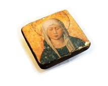 "SALE! 12x11cm (4X4"") wooden icon Madonna in Sorrow, Sorrowful Mother, Mater Dolorosa, Our Lady, Seven Sorrows, Virgin Mary, Maria Virgo"
