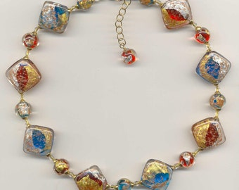 """Murano Glass Necklace, with """"Luna"""" Beads,  with 24 Karat Gold Foil, Pure Silver Foil, and Aventurina (Copper Filings), Venetian Beads."""