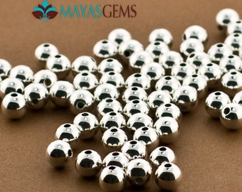 25 - 6mm Beads, 6mm Sterling Silver Beads, Round Seamless Beads, High Polished 6mm Beads, Plain Medium Size Silver Balls, .925 Pure