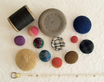 Vintage Cloth Covered Buttons - 12