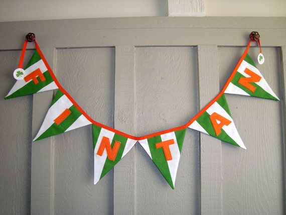 Fabric Banner - Ireland - Patriotic banner -  Personalized - Custom Name sign - fabric bunting - Country flag banner / St. Patrick's Day