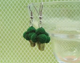 Broccoli Polymer Clay Earrings, Miniature Clay Dessert Food Jewelry, Hook Earrings, inedible jewelry