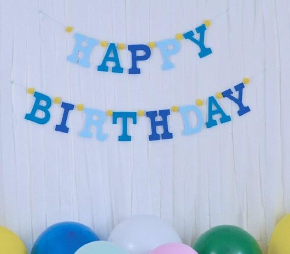 Uppercase Felt Letters W Pom Pom HAPPY BIRTHDAY Banner Other