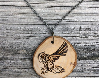 Wood Burned Tribal Owl Necklace