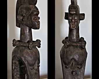 RESERVED // SALE 50% off (was 475) // Unusual Mumuye Sukwava Shoulder/Yoke Mask with Neck-Ring / African Art (Nigeria)