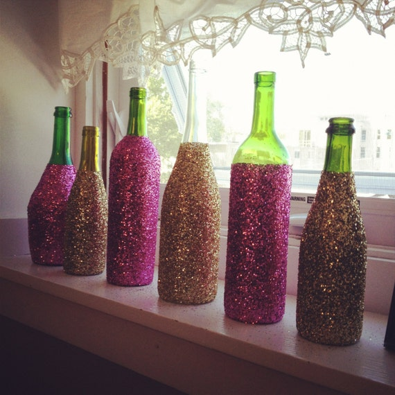 Ways To Decorate Glass Jars: Items Similar To Glitter Glass Wine Bottles, Decorative