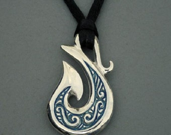 Hei-Matau necklace , silver and blue enamel double sided pendant.