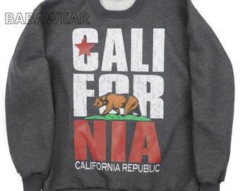 California Big Print Crewneck Charcoal Sweatshirt Cali Bear Vintage