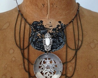 edwardian styled necklace with antique silver absinthe spoon and awesome drapey chain work
