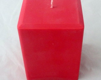 Fresh Cut Roses Pillar Candle, 3x4 pillar candle, candle centerpiece, decorative candle, square candle, red candle, centerpiece candle