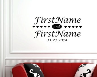 """Personalized Names and Date with Hearts wedding wall decal (30"""" X 16"""")"""