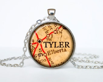 Tyler map pendant, Tyler  map necklace, Tyler map jewelry, Tyler Texas