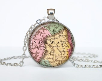 Norway map pendant, Norway map necklace, Norway map jewelry, Norway